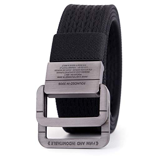 JUIHUGN Military Equipment Tactical Belt Man Double Ring Buckle Thicken Canvas Belts for Men Waistb Black 120cm