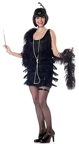 California Costumes Women's Adult Fashion Flapper Costume and Boa, Black, X-Large