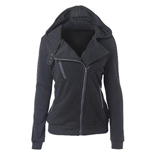 (Women's Full Zip Collared Neck Two Pockets Long Sleeve Fleece Hoody Dark Gray)