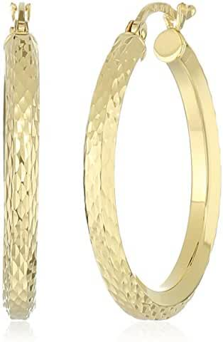 10k Yellow Gold 3mm Diamond Cut Hexagonal Tube Hoop Earrings