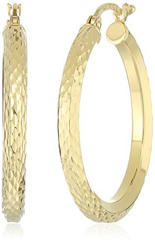 10k-yellow-gold-3mm-diamond-cut-hexagonal-tube-hoop-earrings
