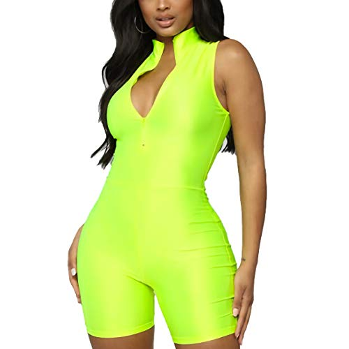 (ALERDON Women's Sexy Round Neck Zipper Neon Long Sleeve Jumpsuit Shorts (Large, Zipper-Green))