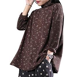 YESNO WZK Women Casual Pullover Sweatshirts Turtleneck Tee Floral Print Long Sleeve