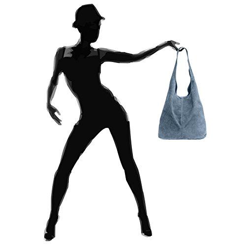 CASPAR Suede large Women TL767 Shopper TL767 Leather CASPAR Blue Jeans 6qU7OwnnH