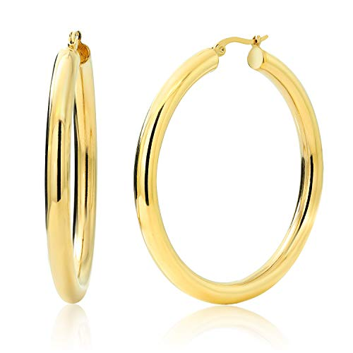 Gem Stone King 2 Inches Wide Stainless Steel Yellow Hoop Earrings