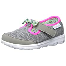 Skechers Kids Go Walk Bitty Bow Sneaker (Toddler/Little Kid), Gray/Multi, 11 M US Little Kid