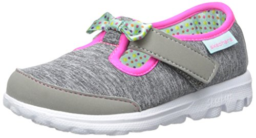 Skechers Kids Go Walk Bitty Bow Sneaker (Toddler/Little Kid),Gray/Multi,