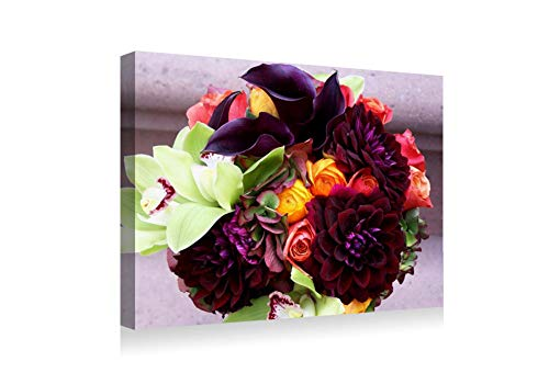 (SHADENOV Canvas Prints Wall Art - Rose Dahlias Calla Lilies Orchids Bouquet Flowers Composition - Modern Home Deoration Wall Decor Printing Wrapped Stretched Canvas Art Ready to Hang 16x12)