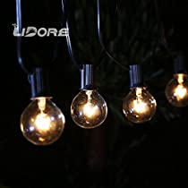 LIDORE New G40 Globe bulb Patio Light Set. Clear Bulbs with Black Cord. 25ft Long. Suitable for Classic Indoor or Outdoor use. Classical design with Natural Incandescent lights.