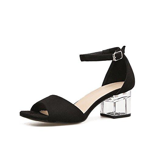 cristallo spessore fibbia selvagge apricot con parola ZHZNVX con trasparente di sandali nuovo scarpe Estate U6qxEF
