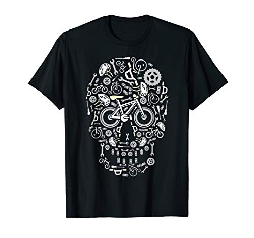 (Funny Bicycling & Cycling Sugar Skull - Bicycle  T-Shirt)