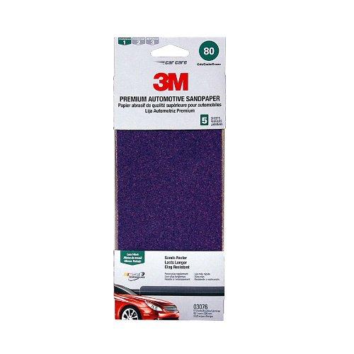 3M 03076 3-2/3'' x 9'' 80 Grit Premium Automotive Sandpaper (Pack of 20)