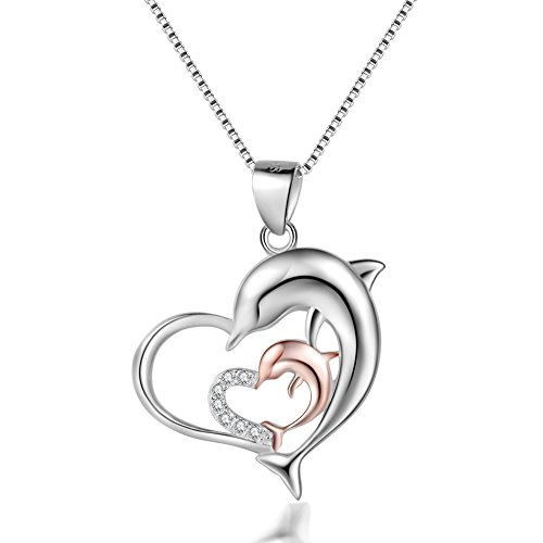 YAXING Sterling Silver Mother and Child Dolphin Heart - Dolphin Necklaces