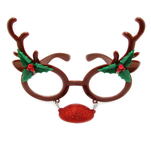 Unisex Elf or Reindeer Christmas Holiday Novelty Party Glasses for All Ages (Reindeer) -