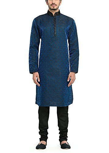 Manyavar Men's Full Sleeve Regular Fit Banded Collar Kurta Paired with Churidar (Blue, XX-Large)