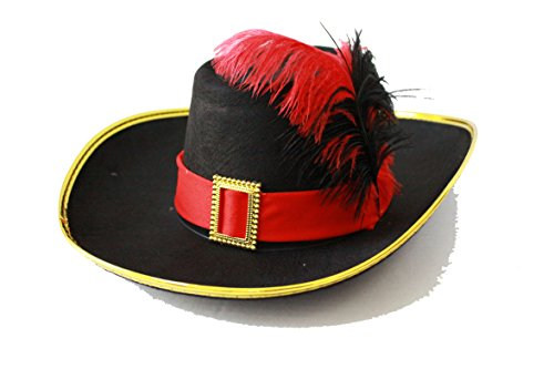 Halloween Puss in Boots Party Hat Adults and Kids Black/Red Feather G0432