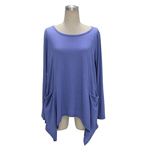 Coton À Manches Longues Lâche Femmes Aliven Tunique Blouse Casual T-shirt Chemise Bleue En Tête