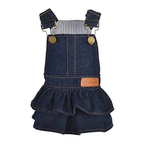 Denim Dachshund Shirt Miniature (Wouke Dog Dress, Puppy Clothes Pure Color Denim Dress for Dog Clothes Apparels Outfit)