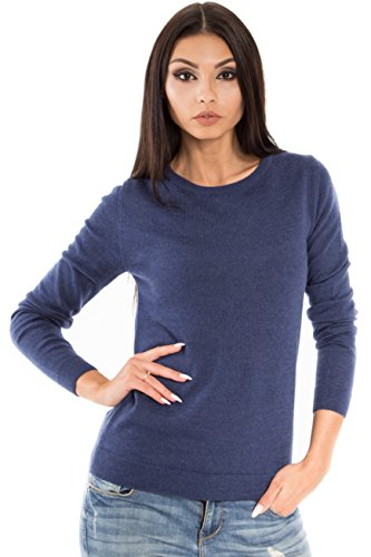 Women's Pure Merino Wool Classic Knit Top Lightweight Crew Neck Sweater Long Sleeve Pullover (X-Large, Navy Melange)