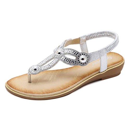 Women T- Strap Thong Flat Sandals Summer Beach Crystal Flip Flops Shoes Sliver