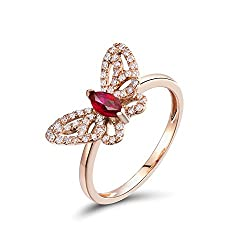 Rose Gold Vintage With Red Ruby Diamond Ring
