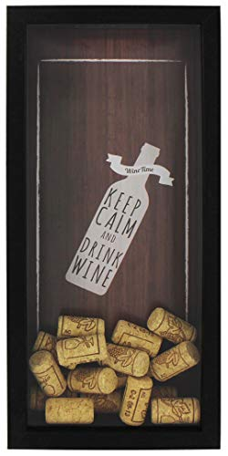 Space Art Deco 6x14 Black Wine Cork Shadow Box - Wine Cork Holder/Collector - Wall Mounting or Free Standing -