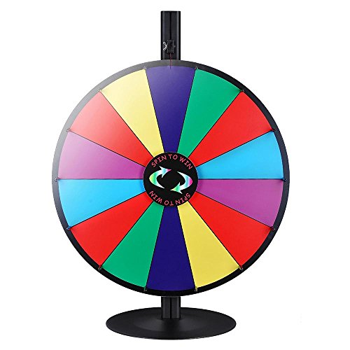 WinSpin 24' 14 Slot Tabletop Color Dry Erase Prize Wheel +Stand Fortune Spinning Game Tradeshow