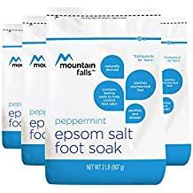 Mountain Falls Epsom Salt Foot Soak with Baking Soda to Help Control Foot Odor, Peppermint, 2 Pound (Pack of 4)