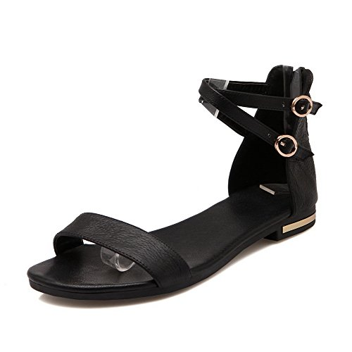AmoonyFashion Womens Soft Leather Zipper Open Toe No Heel Solid Flats-Sandals Black ADhi4a