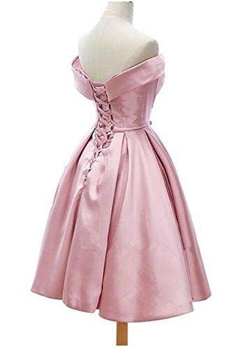 Dressylady Hors Épaule Longueur Genou Robes De Soirée Formelle De Robe De Bal En Satin Blush Rose