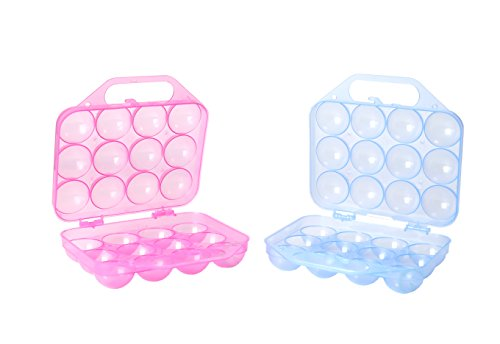 Clear Plastic Egg Carton, 12 Egg Holder Carrying Case with Handle, Set of 2 by Basicwise