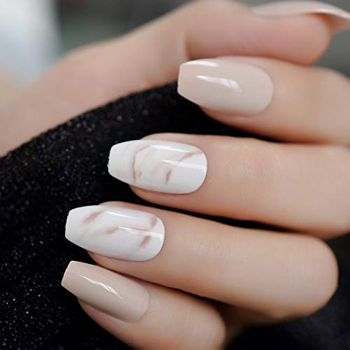 CoolNail 24Pcs Ballerina Fake Nails Khaki Nude Marble Coffin Flat Artificial False Nail Tips for Office Home Faux Ongle Free Glue Sticker