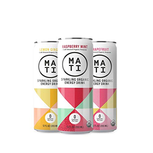 (MATI Sparkling Healthy Organic Energy Drink, All Natural Craft Brewed Guayusa, Zero Calorie, Sugar-Free, 0 Calorie Variety, 12 Fl Oz Cans (Pack of 12) Clean Label, Keto, NON-GMO, Whole30, Plant Based)