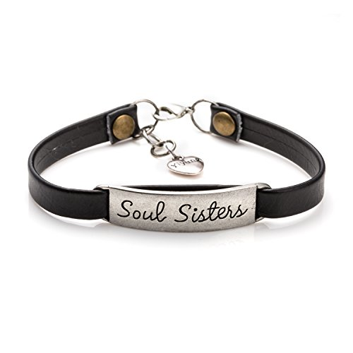 Soul Sister Learther Bracelets for Friends Inspirational Friendship Jewelry Gift for Teen Girls(Black) ()