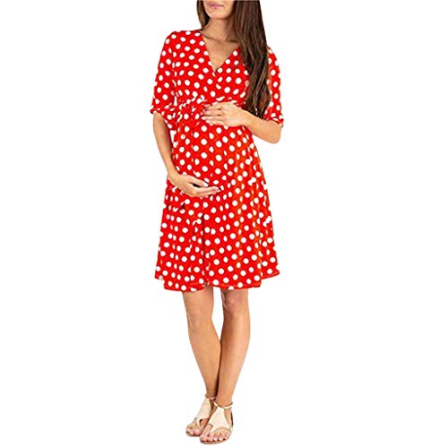RAINED-Baby Shower Front Tie Wrap Maternity Dress for Women Summer Dot Print Knee Length Pregnant Mini Dress with Belt Red