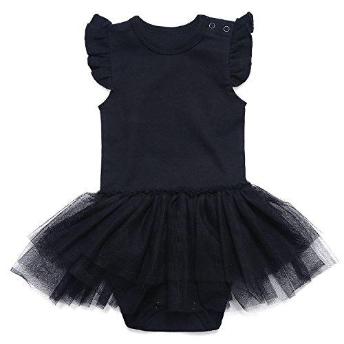 ROMPERINBOX Romeprinbox Baby Girls Solid Little Black Dress Bodysuit (6-9 Months)