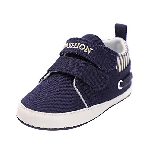 Sherostore ♡ Baby Boys Girls Canvas Sneakers Toddler Infant Newborn Anti-Slip Rubber Soft Sole First Walking Shoes Navy ()