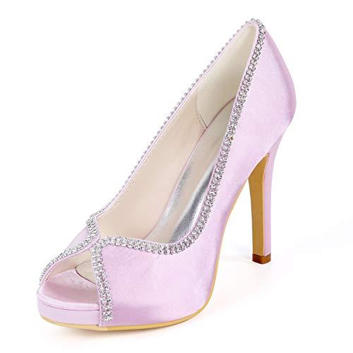 Peep Pink Strass Mariée En De Hauts Layearn Pompes Satin Femmes 11cm Talons Chaussures Toe talons p46Iq