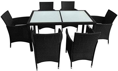 13 Pieces Outdoor Dining Set Black Poly Rattan Chair Set with Steel Frames and the Aluminum Feet Make the Table and Chairs Sturdy and Stable