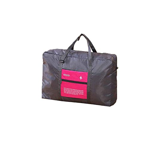 Single Buggy Bag - MuLuo Storage Foldable Pocket Sack Suitcase Luggage Handbag Sport Single Gym Travel Buggy Bag Haversack gray+rose red