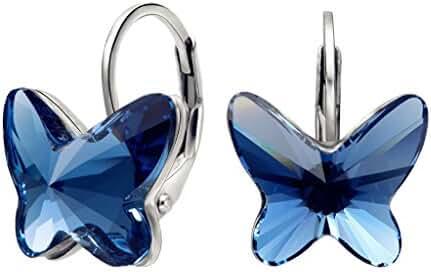 EleQueen 925 Sterling Silver Butterfly Love Hoop Huggie Stud Earrings Earrings Adorned with Swarovski Crystals