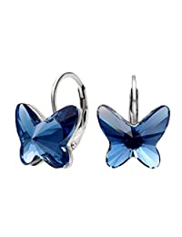EleQueen 925 Sterling Silver Butterfly Denim Blue Jewelry Adorned with Swarovski® Crystals