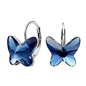 EleQueen 925 Sterling Silver Butterfly Love Hoop Huggie Stud Earrings Denim Blue Adorned with Swarovski Crystals