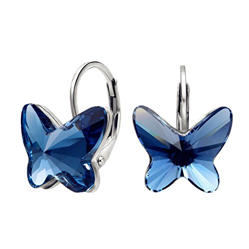 EleQueen 925 Sterling Silver Butterfly Love Hoop Huggie Stud Earrings Denim Blue Adorned with Swarovski (Good Costumes For Couples)