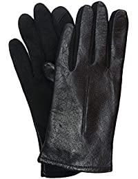 Womens Dimpled Black Leather Tech & Text Smart Gloves