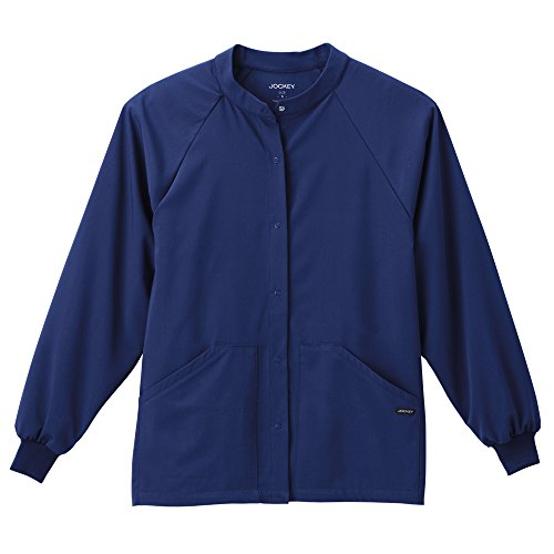 Classic Fit Collection By Jockey Unisex Snap Front Warm Up Solid Scrub Jacket Medium New - Button Alexander