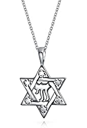 Bling Jewelry 925 Sterling Silver Star of David Chai Symbol Pendant 18in