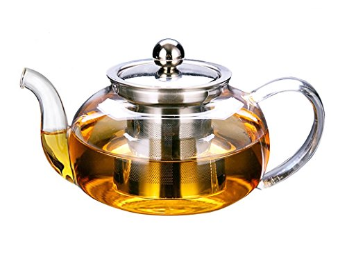 Artcome 28 Ounce Glass Tea Pot with removable Stainless Steel Infuser Stylish Borosilicate Glass Teapot by Artcome