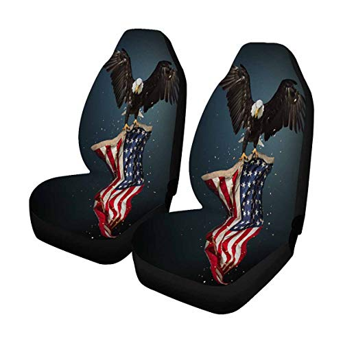 INTERESTPRINT North American Bald Eagle Flying with American Flag Front Seat Covers 2 pc,Car Front Seat Cushion Fit Car, Truck, SUV or Van (Eagles Truck Seat Covers)