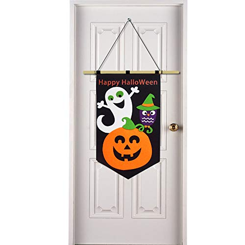 Happy Halloween Decoration Trick or Treat Hanging Door Banner Family Friendly Party Multicolor]()